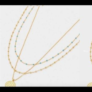 Gold satellite necklace with turquoise beads